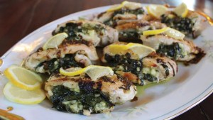 Lemon-Braised Stuffed Chicken Breast with Spinach and Feta Cheese Recipe