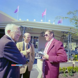 Left to right: Randall Duell, unidentified, David Brown stand outside Buffet Le Grand in Orleans Place on opening day at Marriott's Great America, Santa Clara, CA.