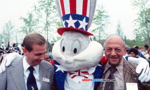 """J.W. """"Bill"""" Marriott, Jr. and """"man of a thousand voices"""" Mel Blanc share smiles with Bugs Bunny at the opening of Marriott's Great America in Gurnee, Illinois"""