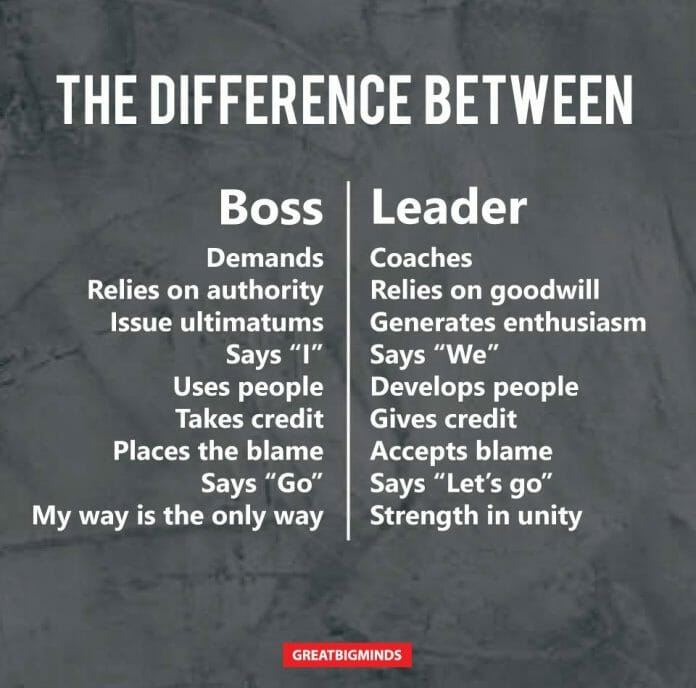 Difference Between A Boss And A Leader Happiness