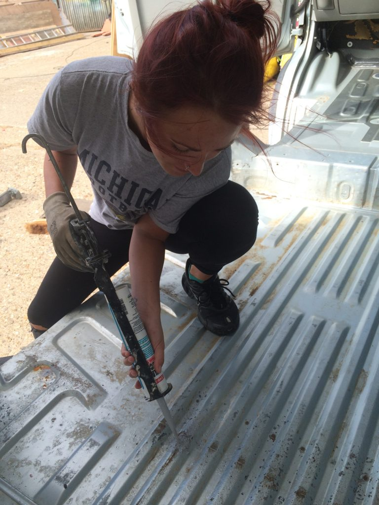 cleaning-the-beast-donkey-van-conversion-54-filling-holes