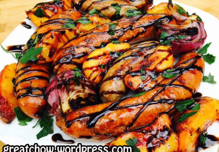 Grilled Sausage, Peaches and Onions Topped with Balsamic Glaze – A Must Try!