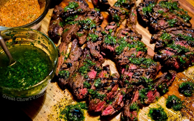 Grilled Skirt Steak with Basil Oil and Balsamic Glaze