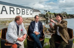 Charles MacLean, Whisky Expert; Jeffrey Manber, NanoRacks CEO and Dr Bill Lumsden, Ardbeg Director of Distilling & Whisky Creation, with the sample of distillate