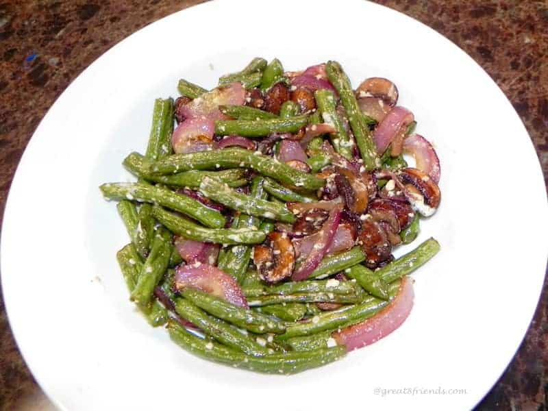 Roasted Mushrooms, Green Beans and Onions