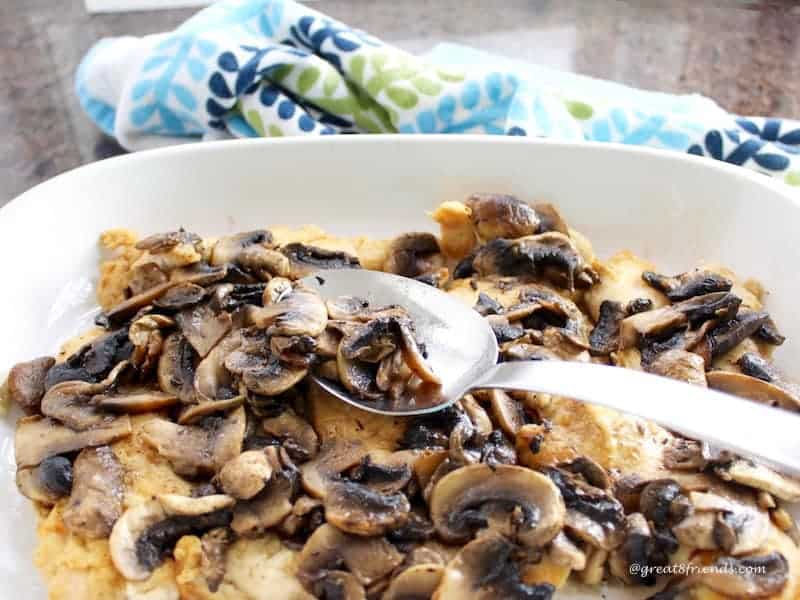 This Baked Chicken Scallopini with Mushrooms is baked in the oven instead of being cooked in a skitllet which ensures a moist and tender dish.