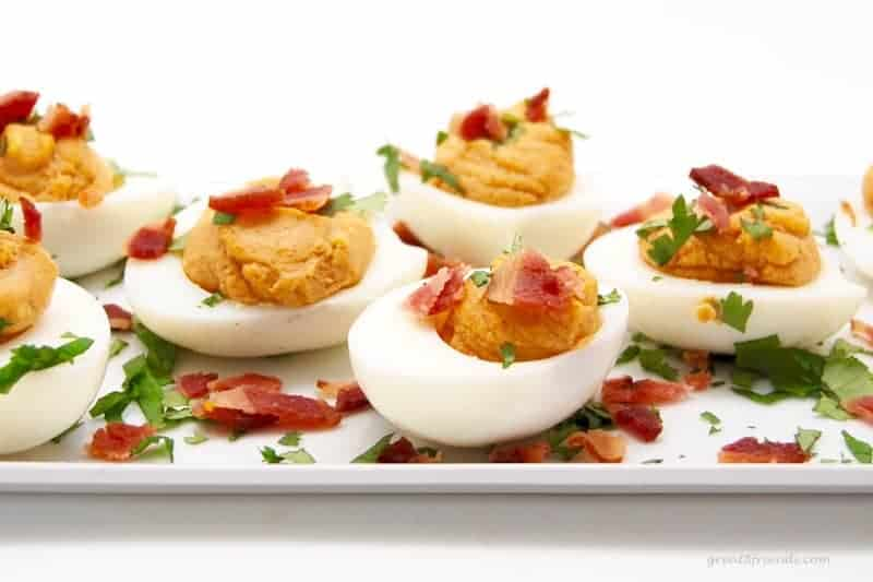 There is nothing devilish about these deviled eggs! The spicy mayonnaise addition really kicks the flavor up a notch. Enjoy this perfect snack or appetizer!