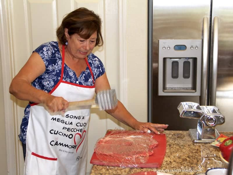 Beef Braciole Pounding