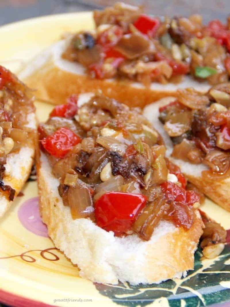 This Eggplant Caponata is a delicious make-ahead Italian eggplant dish and perfect on a fresh baguette as a tasty appetizer before any meal.