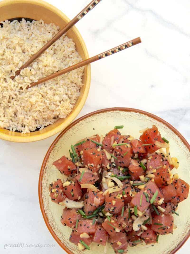 This Ahi Poke recipe is certainly easy to prepare and a great combination of flavors with the fresh fish still the center of attention. Perfect appetizer or main course!