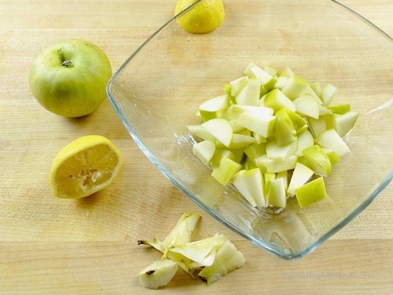 Diced apples.