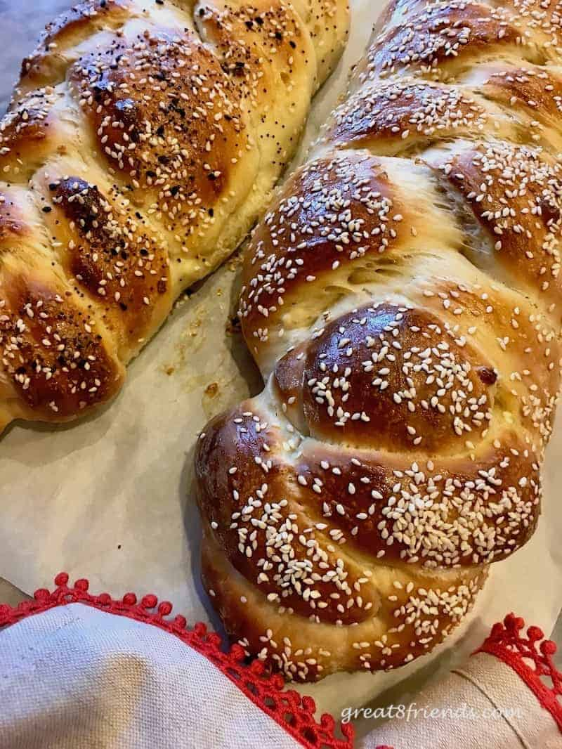 Beautifully baked challah fresh from the oven.
