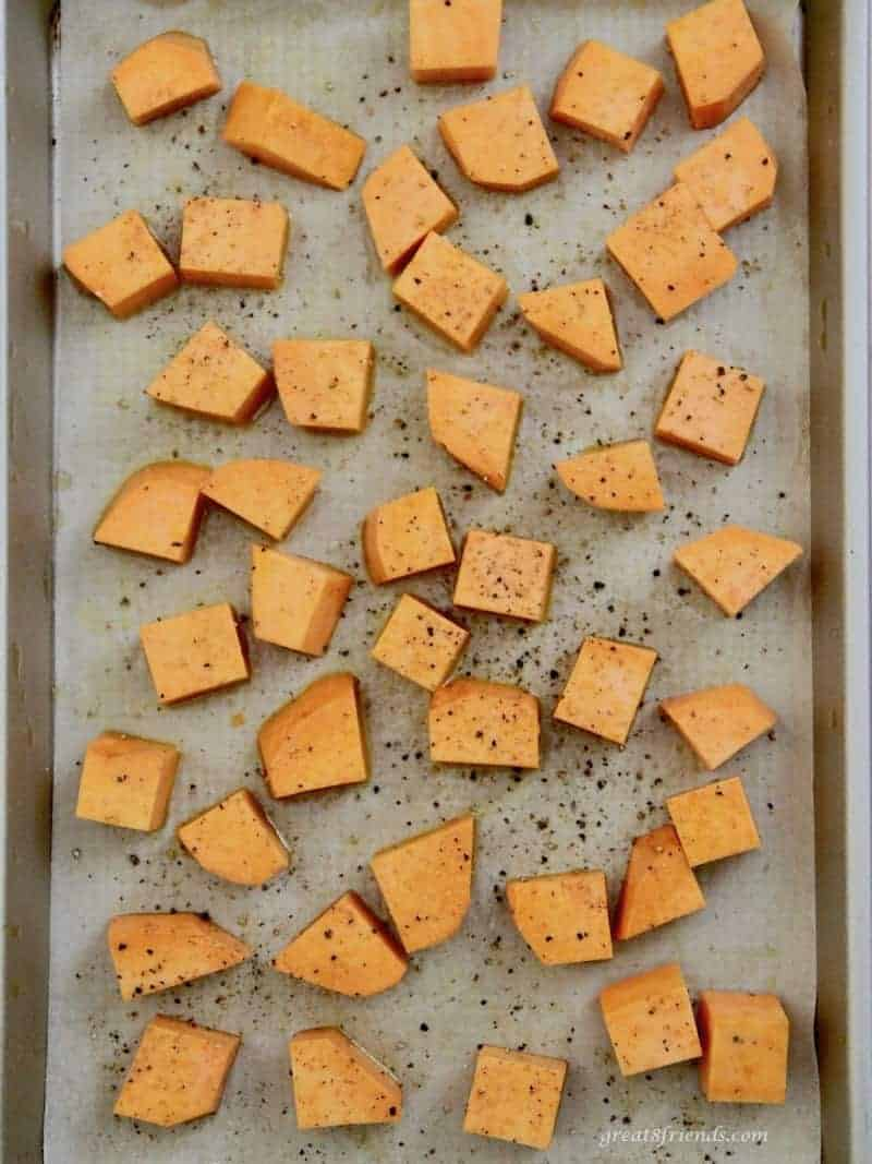 These Sweet Potato Squares can be made ahead of time and are the perfect hearty appetizer especially with the addition of sausage and a dipping sauce.