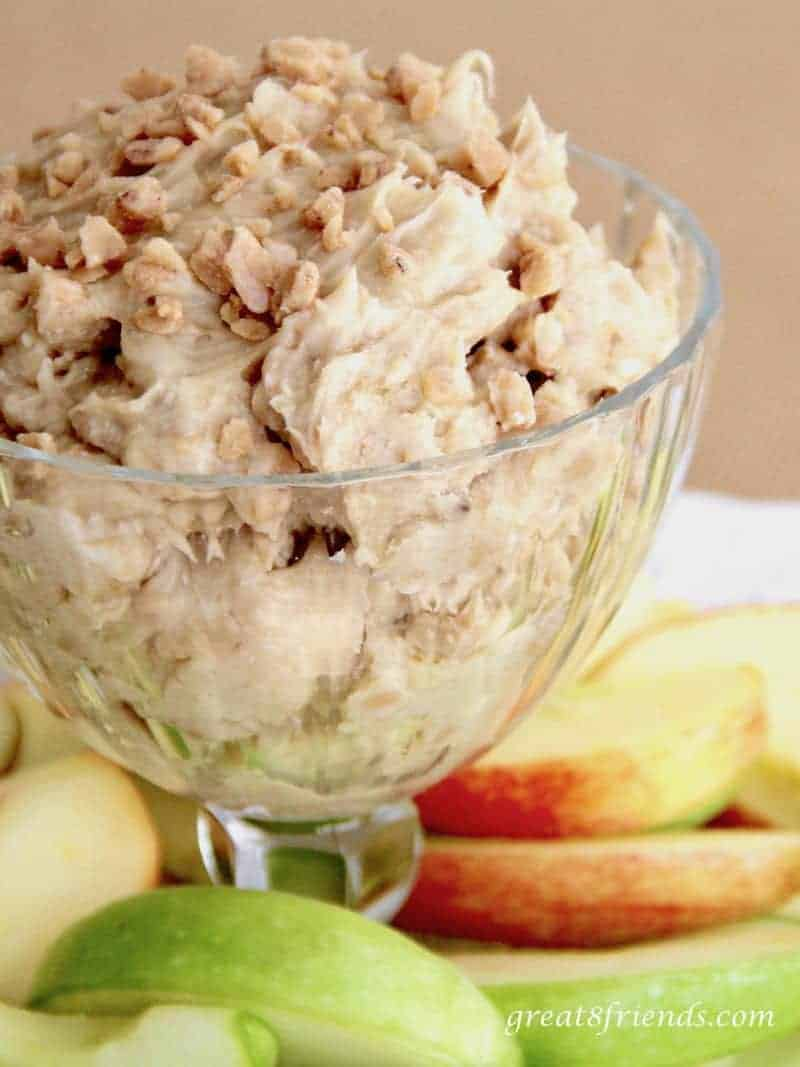 Apple Slices with Toffee Crunch Dip is always a huge hit! Everyone loves this treat and it is the perfect sweet to combine with fruit!