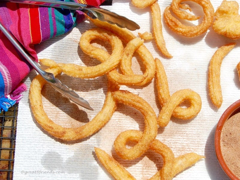 Enjoy these light and airy Churros! Sprinkle with cinnamon sugar and you will be delighted with this wonderful dessert for your next fiesta.