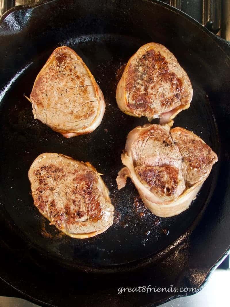 Bacon Wrapped Pan Seared Filet Mignon Steaks