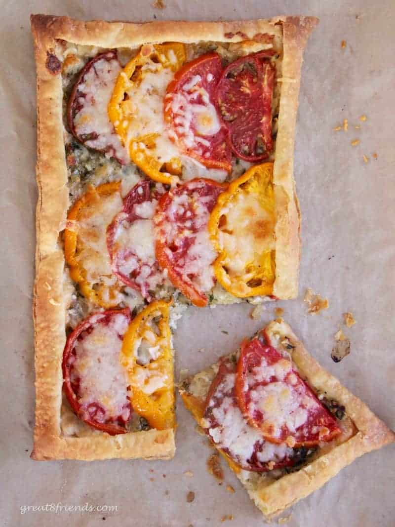 heirloom and onion tomato tart