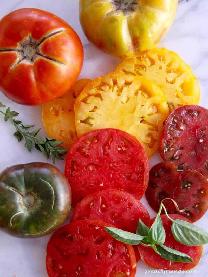 Fresh cut heirloom tomatoes