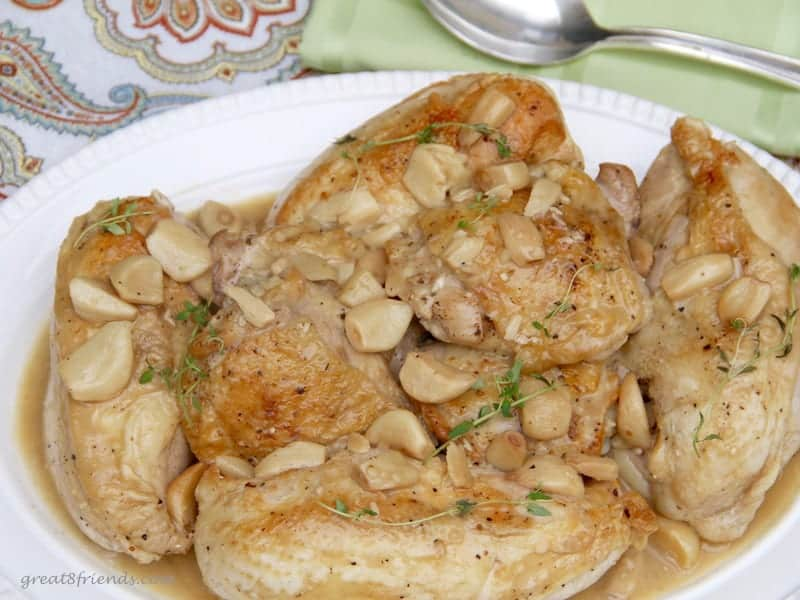 Ina's Chicken with Forty Cloves of Garlic recipe on a platter.