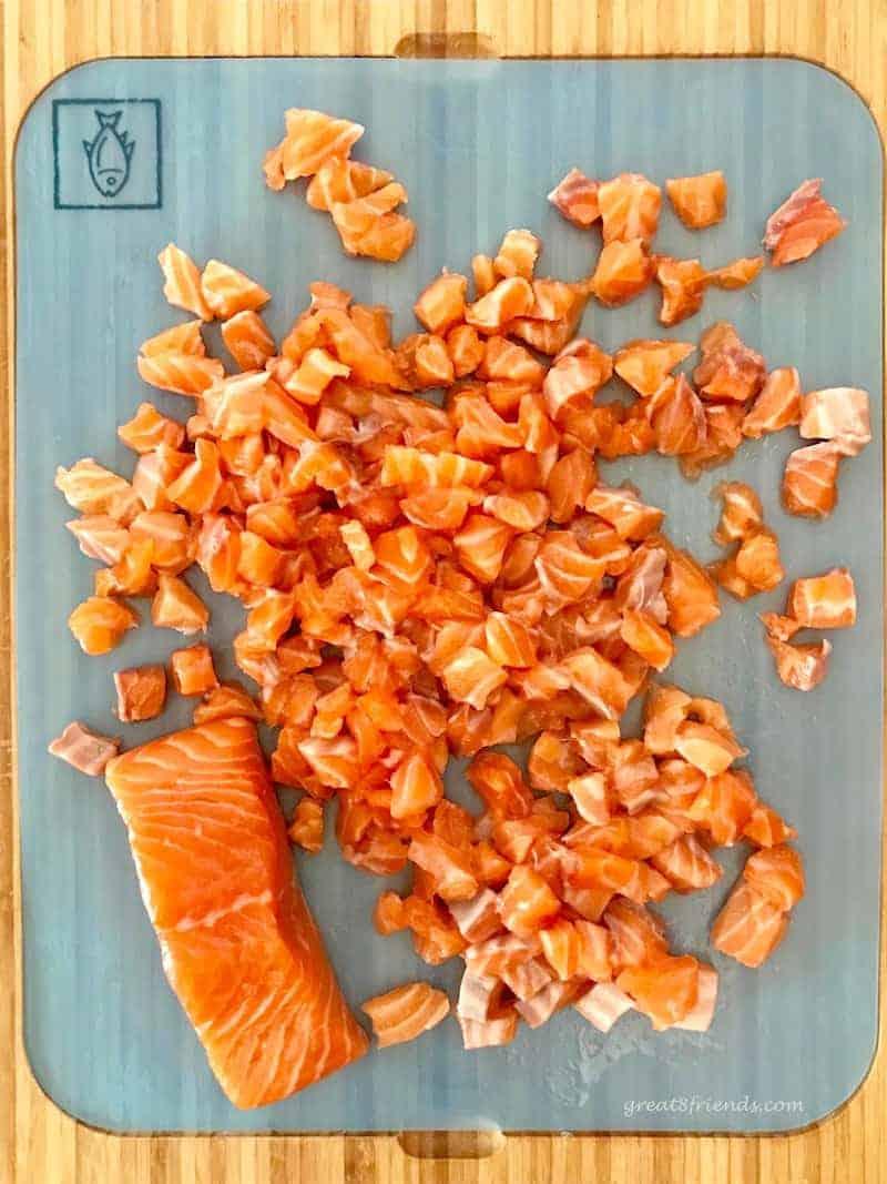 Chopped fresh raw salmon for salmon sliders