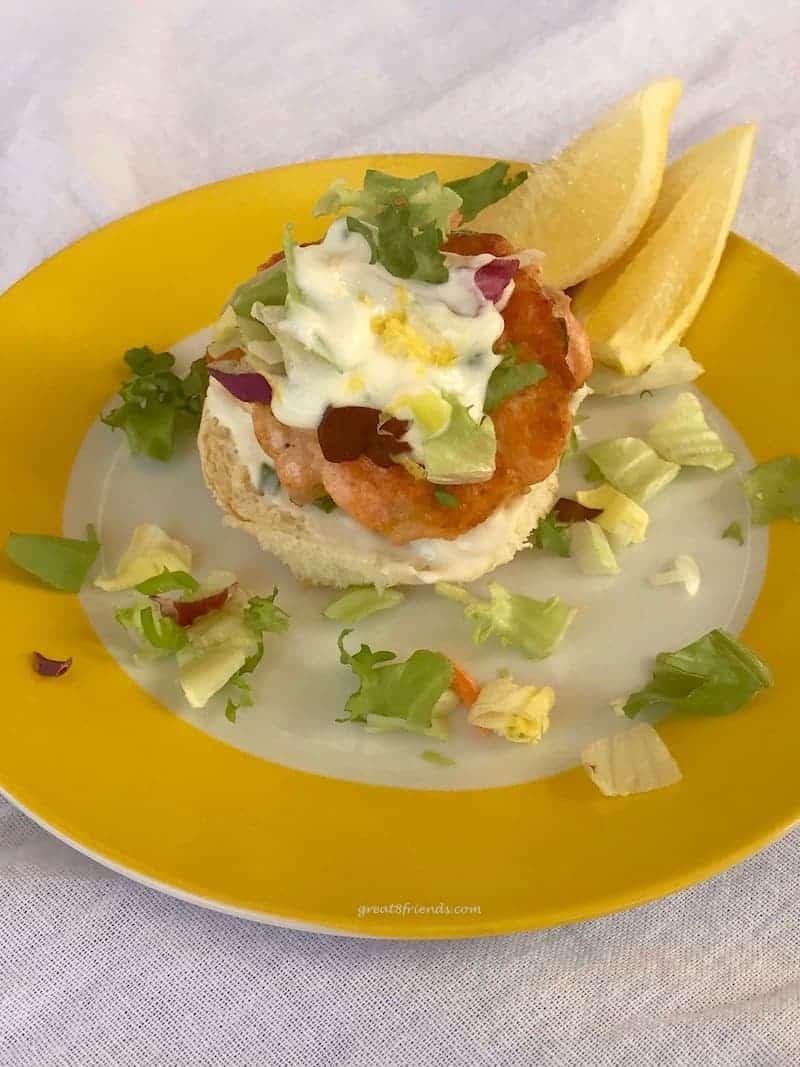 Salmon Slider with Tangy Lemony Yogurt Sauce