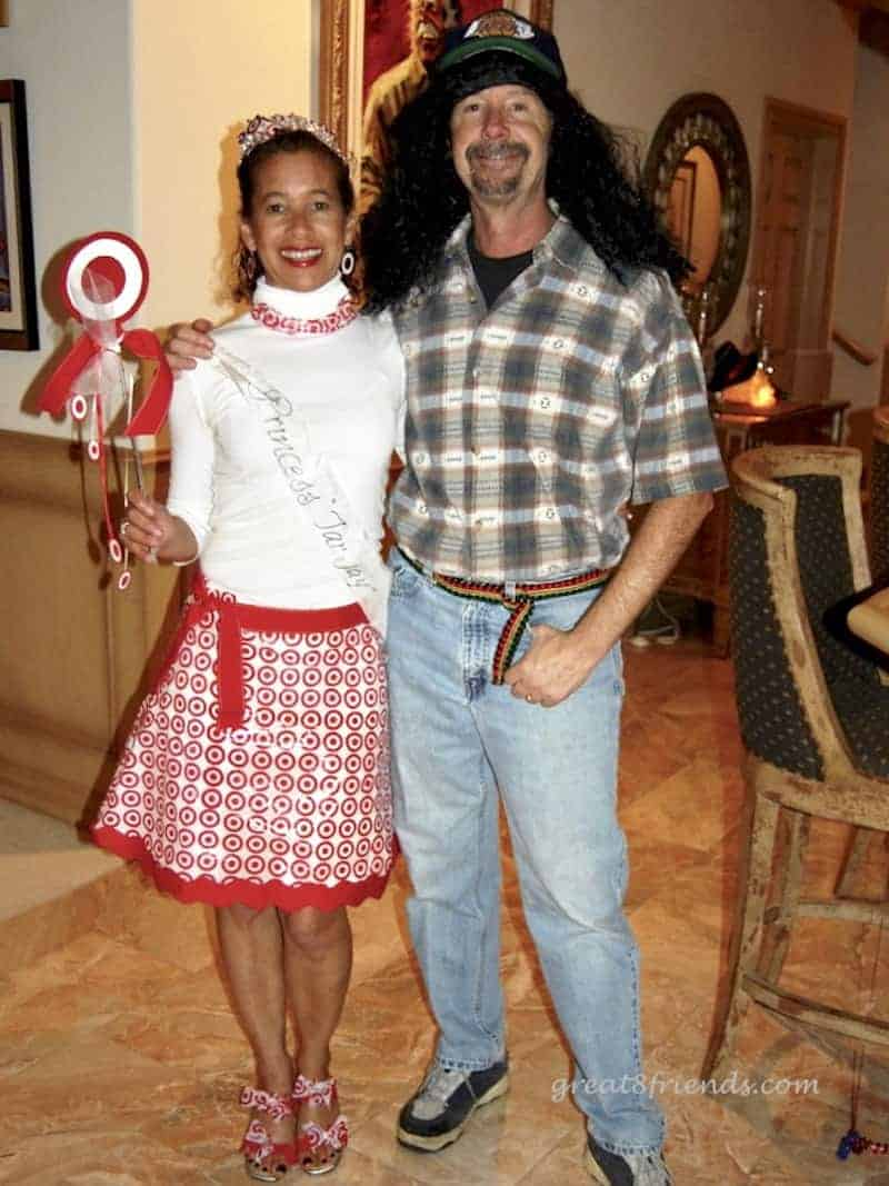 Debbie and Phil in costume. Debbie is Princess Tar-jay, with a skirt made of Target bags. Phil is wearing a long black wig and flannel shirt.
