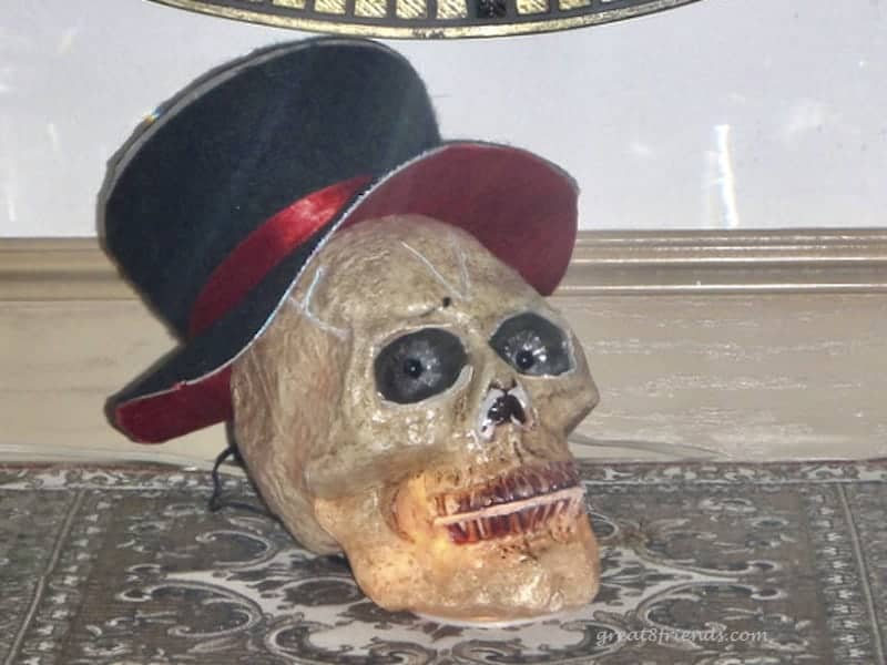 A light up skull wearing a top hat.