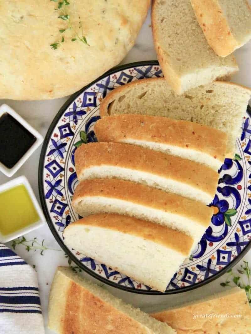 Sliced Savory Onion Thyme Focaccia Bread