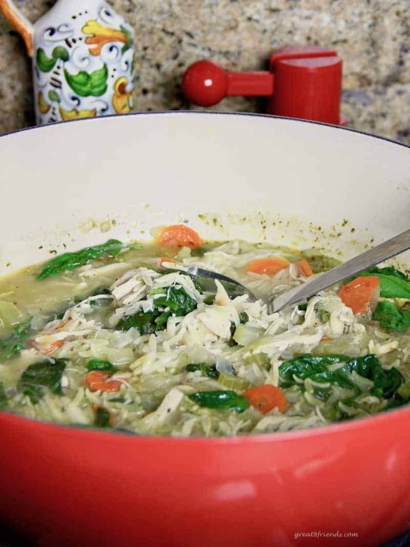 Pot of Lemony Chicken Orzo Soup.