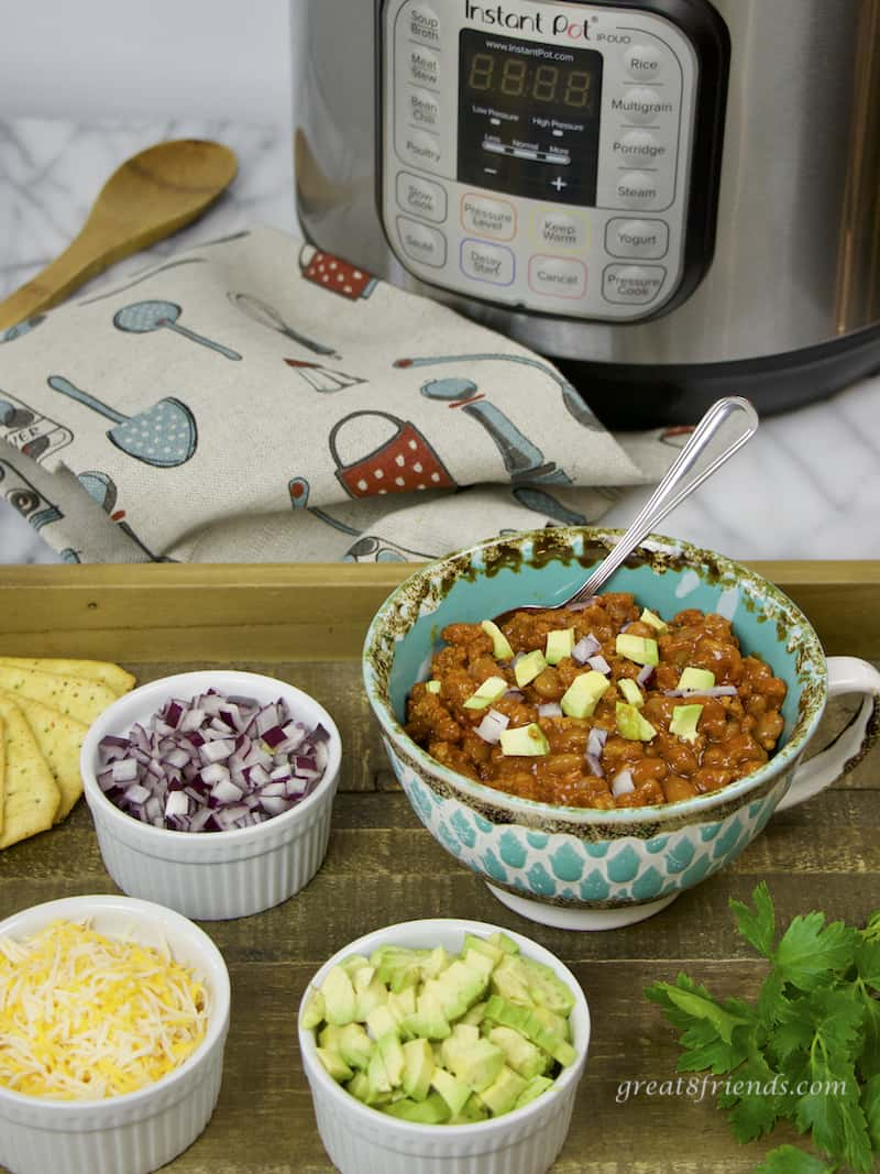Instant Pot Chili with Beans with toppings with Instant Pot