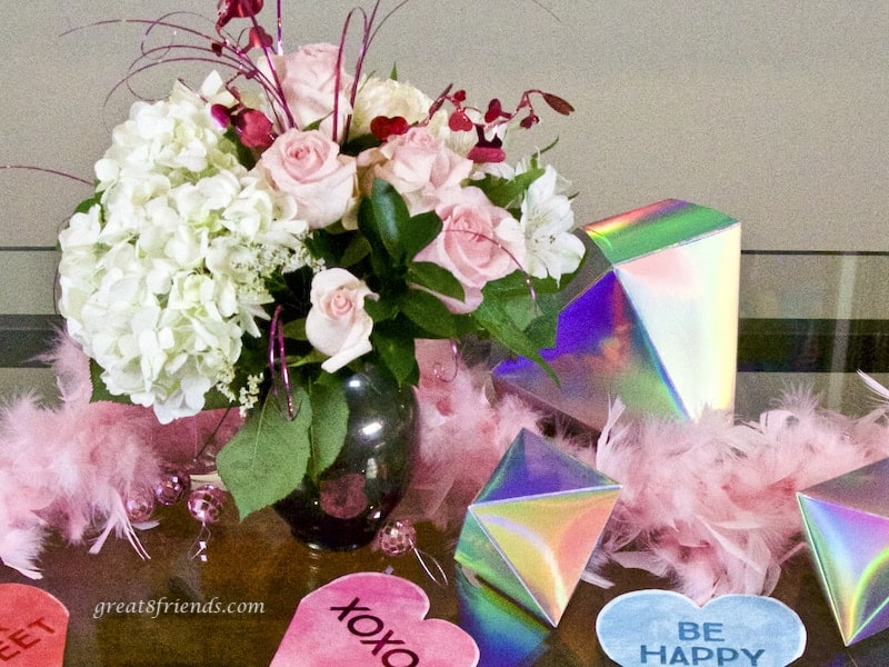 Galentine's Day flower centerpiece