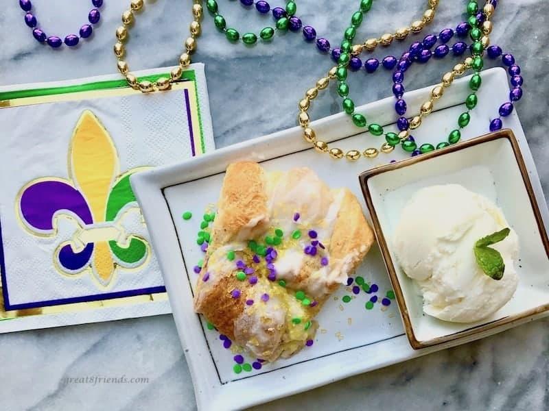 Mardi Gras King Cake with Vanilla Ice Cream