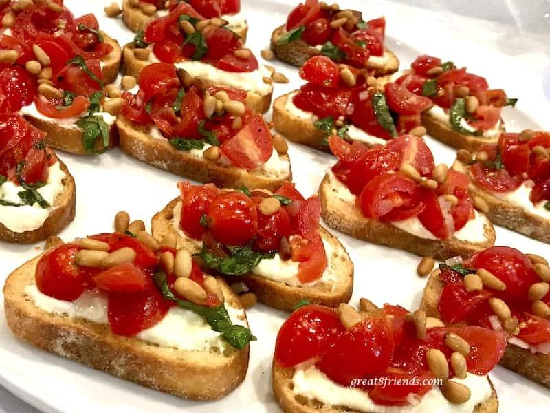 Galentine's Day Tomato Crostini