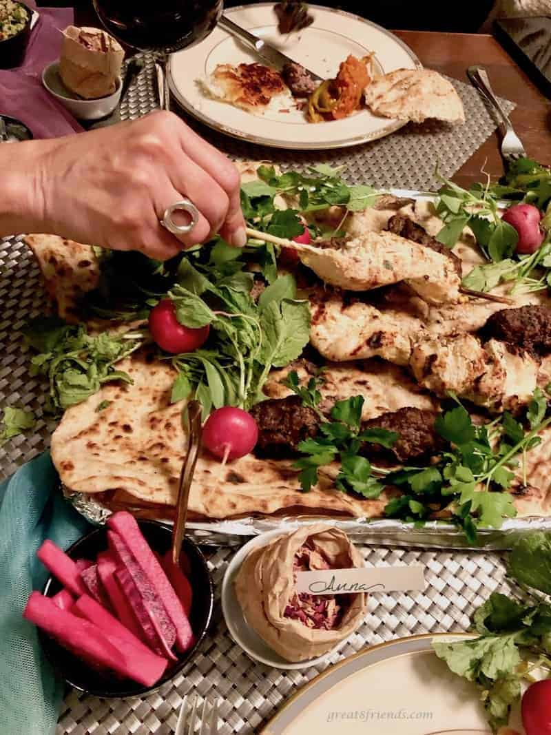 Lemon Yogurt Chicken Skewers served at a Middle East themed dinner party.