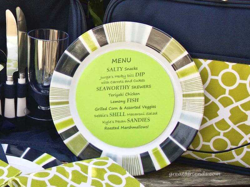 The beach barbecue menu on a plate.