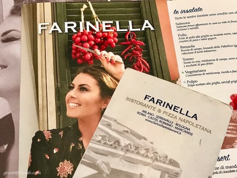 Different menus from the Farinella restaurant in Milan.