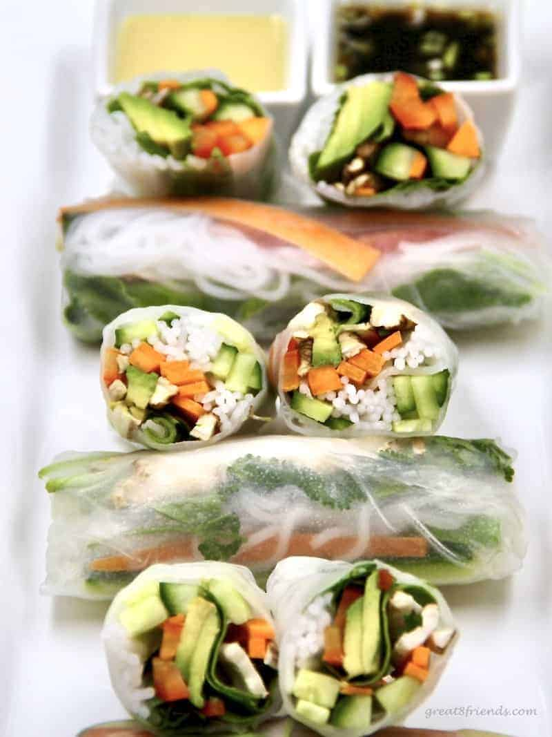 Fresh veggie spring rolls served with two dipping sauces.