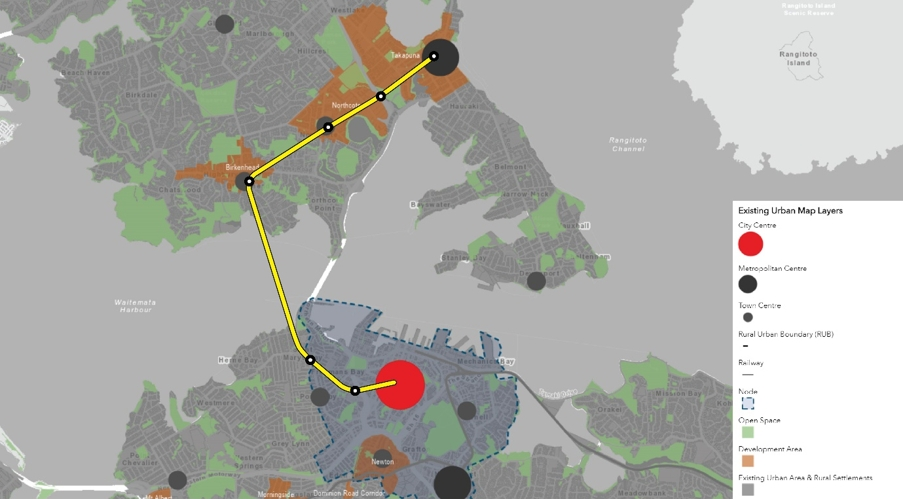 A yellow line shows the proposed transport corridor overlaid onto the council's development strategy map. This shows that the stations on the transport corridor align with numerous council areas for strategic development. The Aotea Station is in the city centre. The Freemans Bay and Ponsonby stations are in the City Centre Node Area (which covers Wynyard Quarter, Parnell, Newmarket Newton/Eden Terrace and the eastern half of Ponsonby). Birkenhead, Northcote, Akoranga and Takapuna stations are within areas identified as development areas (there are no other development areas shown on the map north of the harbour). Takapuna is also identified as a metropolitan centre and Birkenhead & Northcote are identified as town centres.