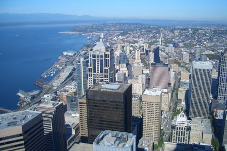 Seattle city iew from Columbia Center Sky Observatory photo by Vmenkov (CC)