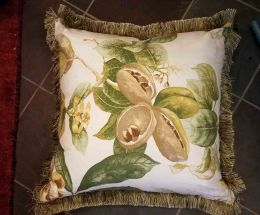Floral and Velvet Decorative Pillow