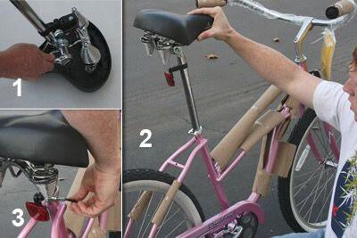 bike assembly put on bike seat