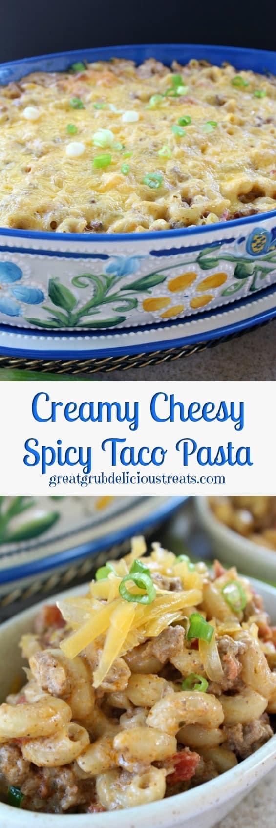 Creamy Cheesy Spicy Taco Pasta