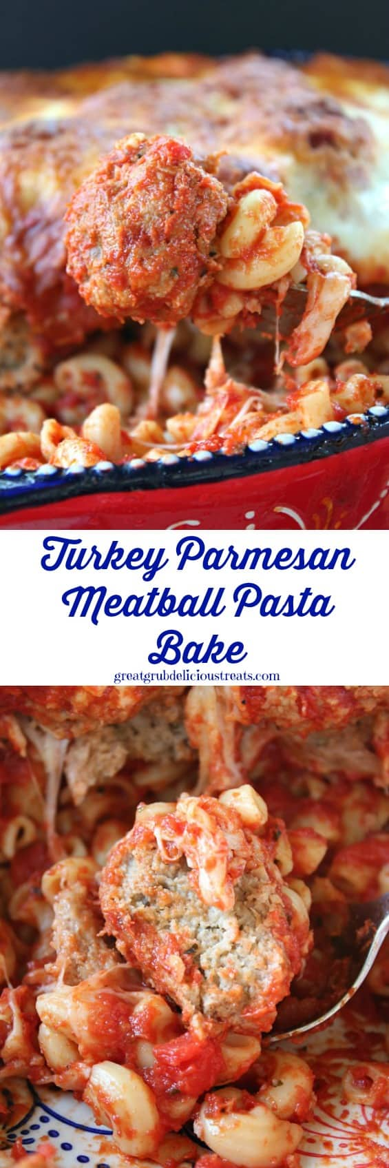 Turkey Parmesan Meatball Pasta Bake