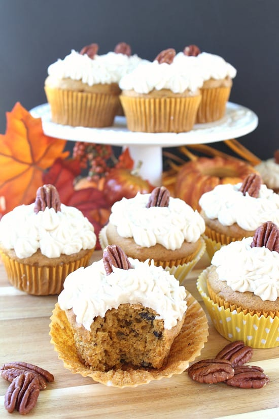 Pumpkin Pecan Cupcakes with Cream Cheese Frosting