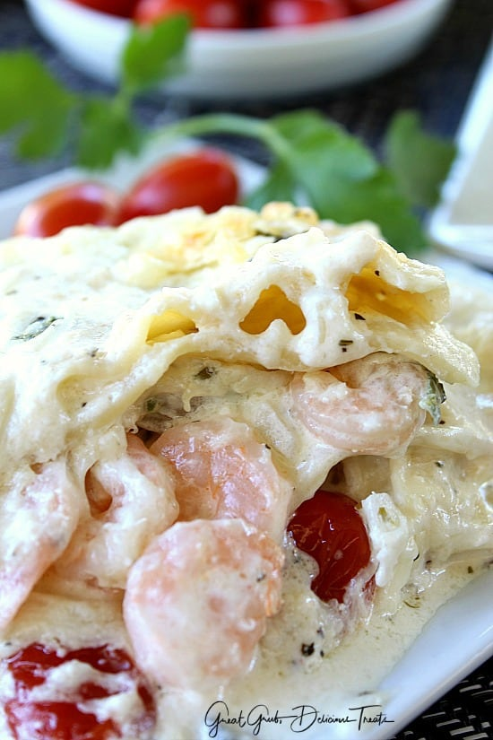 Chicken Spinach Shrimp Alfredo Lasagna