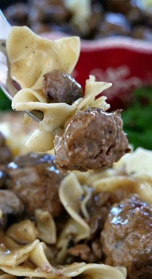Salisbury Steak Meatballs and Noodles