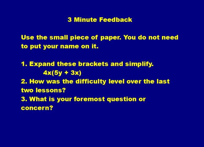 3 min feedback