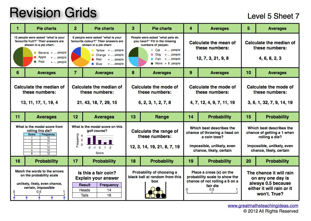 Revision Grids Level 5 Great Maths Teaching Ideas