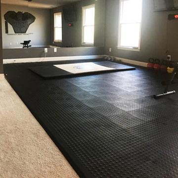 tile home gym floor over carpet