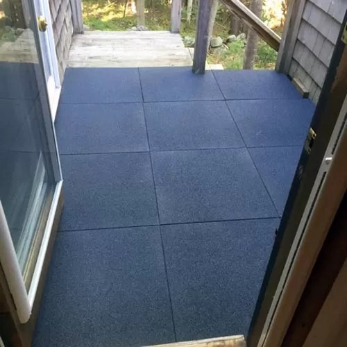 install rubber tiles over a wood deck